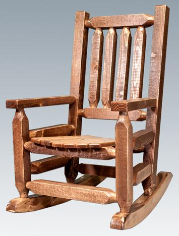 The Homestead Child's Rocking Chair looks just like the adult-sized version. It's available unfinished, lacquered or stained and lacquered from Amish Furniture Factory