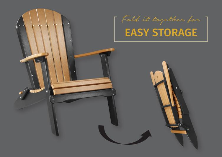 This poly vinyl folding adirondack chair is durable and easy to store.