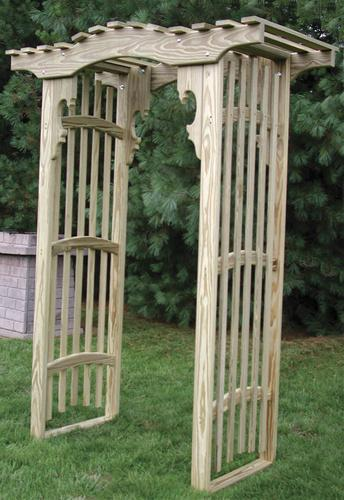 The three-foot Sidewalk Arbor shown unfinished from Amish Furniture Factory