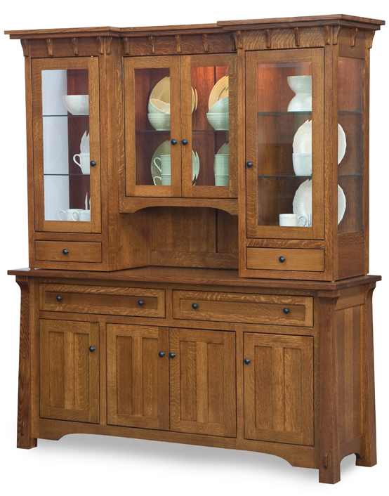 The Manitoba Hutch has several corbels just under the top.