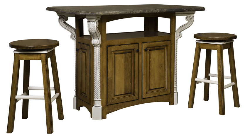 The New Century Kitchen Island shown with two bar stools