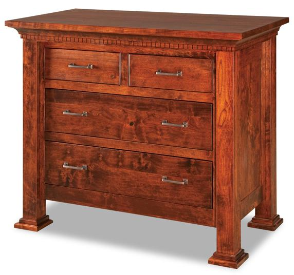 This chest of drawers has a cornice with dentils just beneath the top