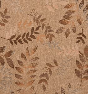 The leaves of 16-58 Cream Upholstery are eye-shaped and run in pairs up either side of curved stems.