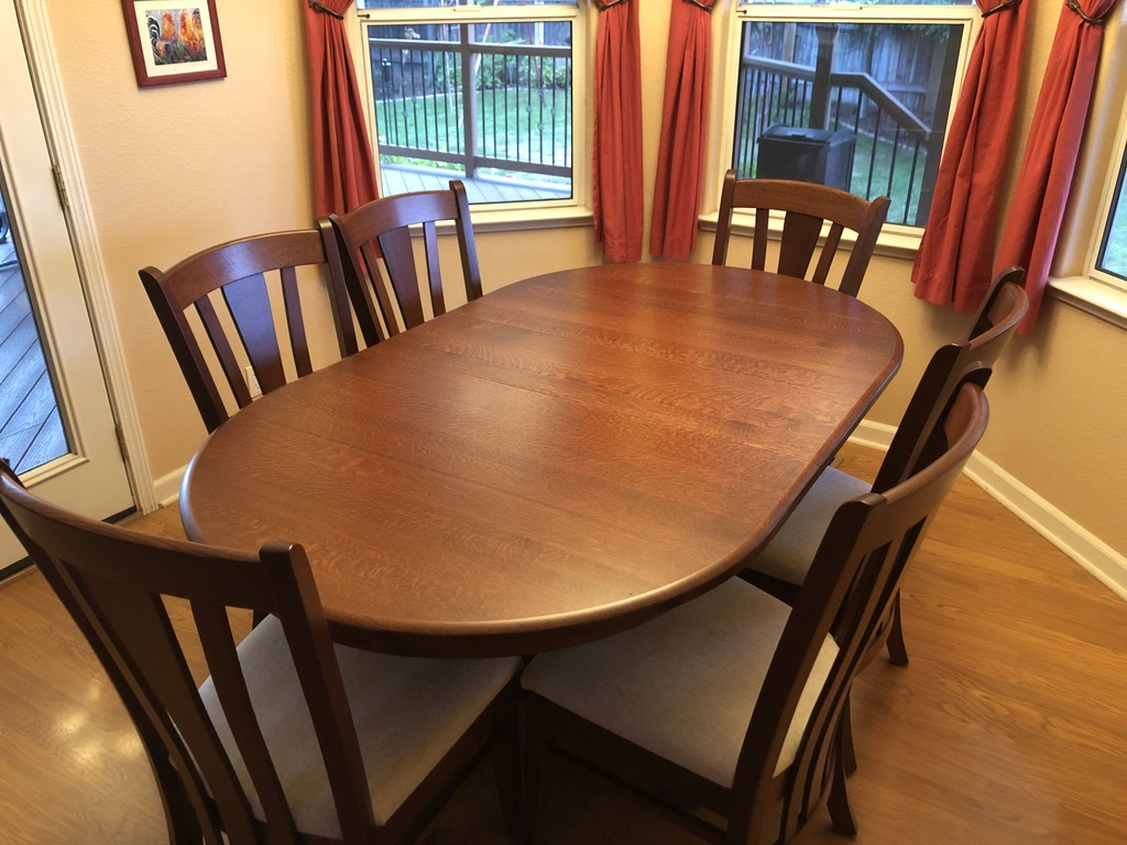 Dining room with Princeton Table and Meridian Chairs in quarter-sawn oak and Acres stain