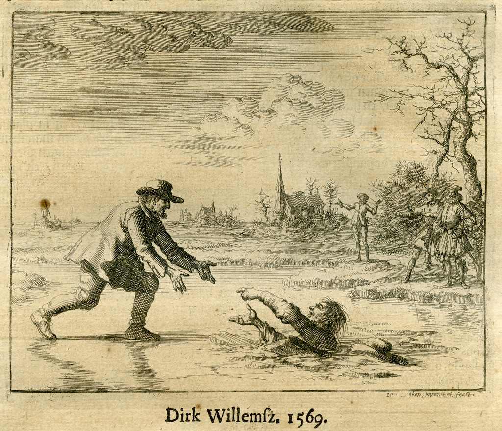 "Dirk Willems is the most famous Anabaptist in ""Martyr's Mirror"" for saving a prison guard he was running from"