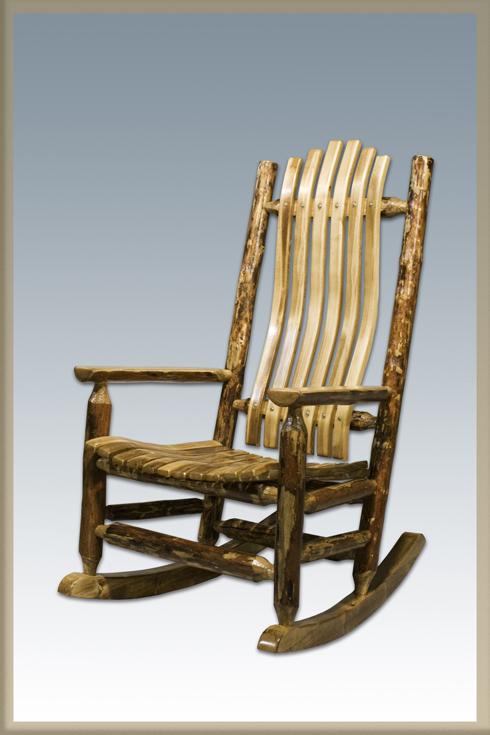 Amish Wooden Rocking Chair Log Rocking Chair