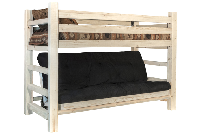 amish bunk bed bunk bed over futon amish furniture factory 15152 | image id 15152 type d