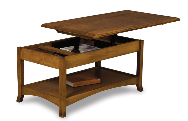 Carlisle Open Lift Top Coffee Table With Counterweight Amish Furniture Factory