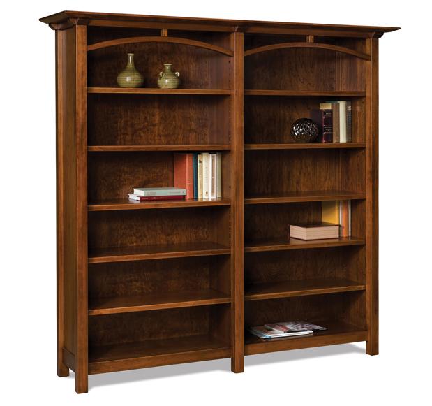 Artesa 10 shelf double wide 6 39 bookcase amish furniture for Types of bookshelves