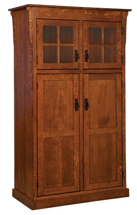 Heritage Mission 4 Door Pantry Cabinet Amish Furniture Factory