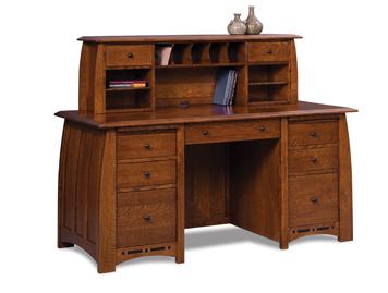 Amish Boulder Creek 7 Drawer Desk With 2 Drawer Desk Topper