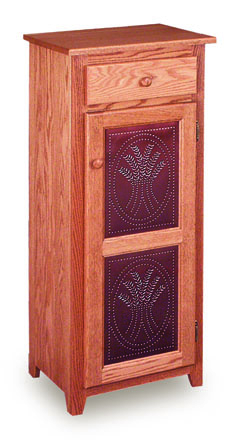 """Classic 18"""" Pie Safe with  Drawer & Metal Inserts Door"""
