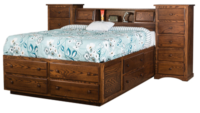 10 Drawer Trail Wall Unit with Platform Bed