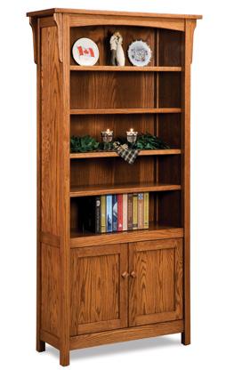 Bridger Mission 4 Shelf 2 Door Bookcase
