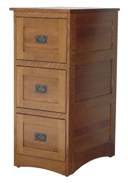 Amish Deluxe 3 Drawer File Cabinet Mission Style