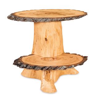 Fireside Rustic Double Slab Stump End Table