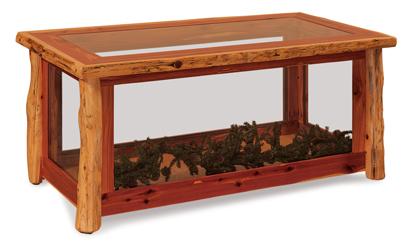 Fireside Rustic Glass Coffee Table