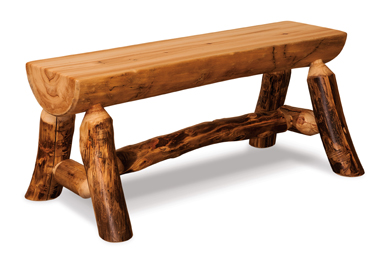 Amish Fireside Rustic Half Log Bench