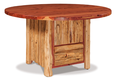 Fireside Rustic Round Table with Cabinet