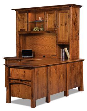 Artesa 6 Drawer L Desk with 3 Door Hutch Top