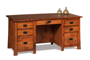 Amish Grant 7 Drawer Desk With Unfinished Back