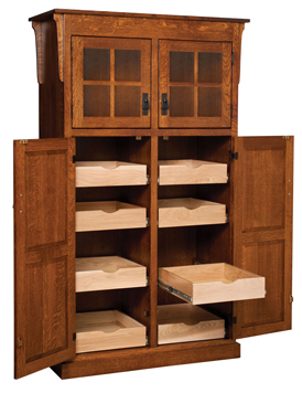 Amish Heritage Mission 4 Door Pantry With Rollout Shelf Cabinet