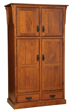 Mission 4 Door Pantry With Drawer Cabinet Amish