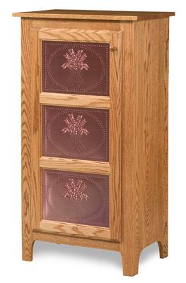 Classic Style 1-Door 3-Copper Panel Pie Safe