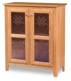 Classic Style 2-Door 2-Copper Panel Pie Safe