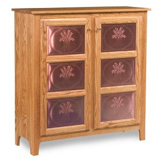 Classic Style 2-Door 3-Copper Panel Pie Safe