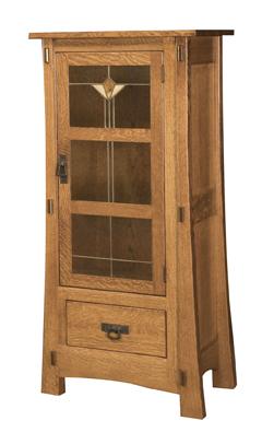 Amish Modesto 1 With Glass Panels Storage Cabinet