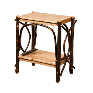 """24"""" End Table with Solid Top & Slatted Shelves"""