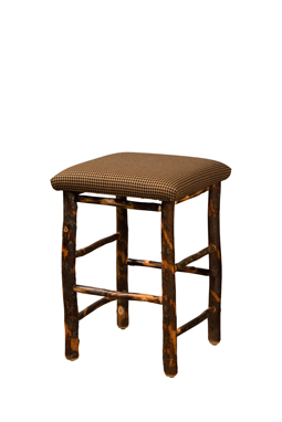 Upholstered Hickory Square Seat Bar Stool For Sale Amish Furniture