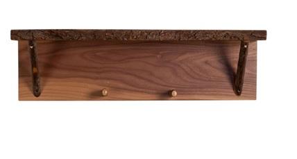 """24"""" Wall Shelf with 2 Hooks"""