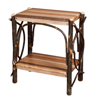 """26"""" End Table with Solid Shelf and Mixed Wood"""