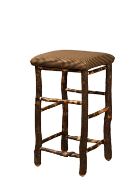 """30"""" Hickory Bar Stool with Fabric Seat"""