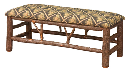 """48"""" Hickory Bench with Fabric Seat"""