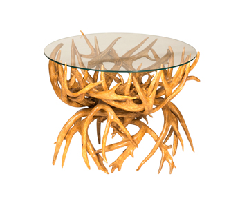 """Antler End Table with 24"""" Round Glass"""
