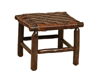 Hickory Fireside Footstool in Cane Seat