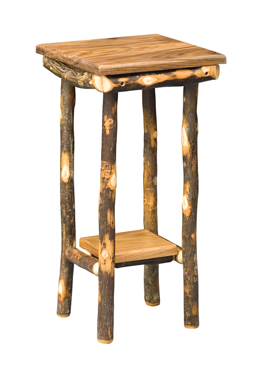 Amish Hickory End Table With Square Solid Top U0026 Shelf