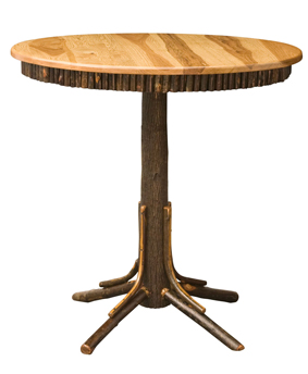Hickory Round Top Pub Table with Round Skirting