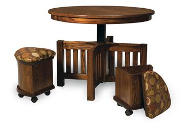 5 Piece Round Table Bench Set with Storage