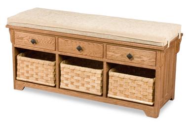 Lattice Weave Drawer Bench Amish Furniture Factory