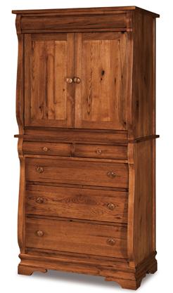 Chippewa Sleigh 3 Drawer 2 Door Armoire