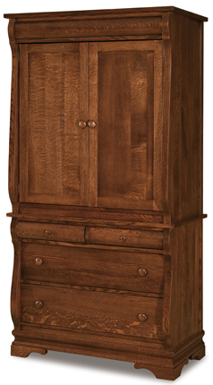 Chippewa Sleigh 4 Drawer 2 Door Armoire
