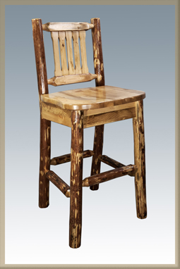 Glacier Country Bar Stool with Back