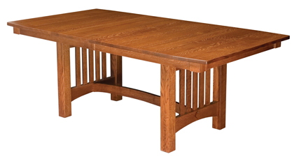 Bellingham trestle dining table amish furniture factory for Arts and crafts kitchen table