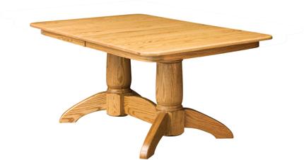 Tuscan rectangular double pedestal dining table amish furniture factory amish furniture factory - Rectangular pedestal kitchen table ...
