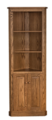 Traditional Corner Bookcase with Doors