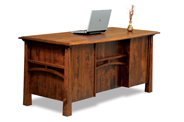 Artesa 5 Drawer Desk with Finished Backside and Curved Top